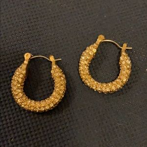 Lia Sophia crystal and gold hoop earrings